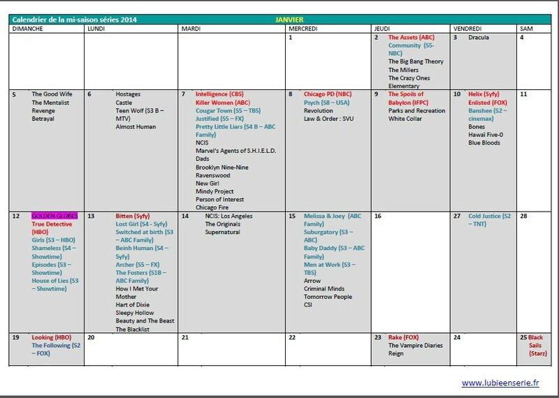 calendrier mi-saison séries US janvier 2014