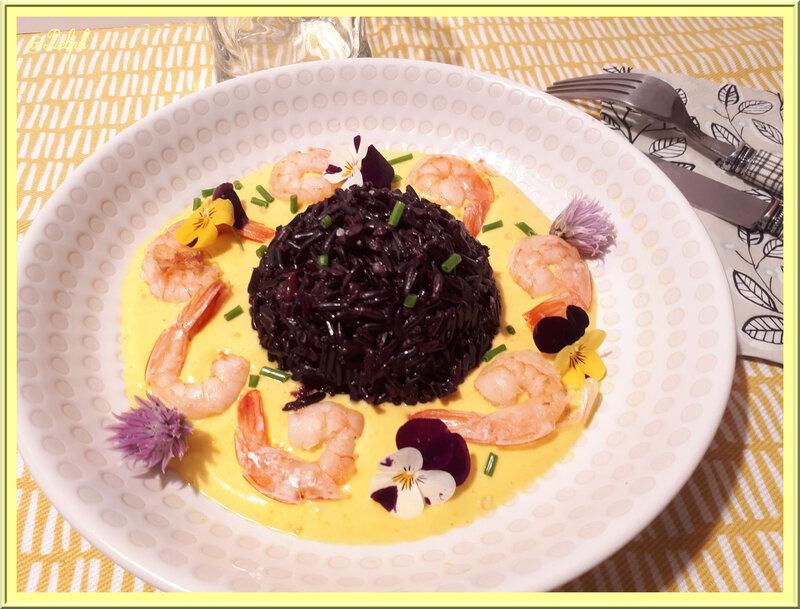 riz noir au safran et sauce aux crevettes Del