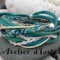 Bracelet double tour de poignet et multimatières allant du cordon liberty, au cuir, au coton ciré, à la chaîne, en passant par l