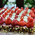 La tarte à la fraise/chantilly pistache