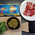 Pâtes aux pistaches et menthe, avec coppa *by missfil*