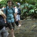 Walking in a small river near Palenque's excavated area