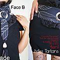 cravate ceinture noire réversible tartan rouge