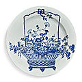 A large blue and white 'flower basket' dish, kangxi mark and period (1662-1722)