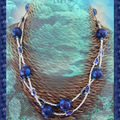 Sautoir Fimo pois bleu et poisson bleu et argent (N)