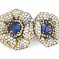 A sapphire and diamond 'gauguin' flower brooch, by van cleef & arpels