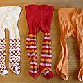 Cab17 - 3 collants orange-rouge 18/20