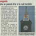 Illuminations du beffroi et de la cloche (article midi libre 26 / 01 / 2015)