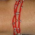 Bracelet Collier argenté tissé rouge