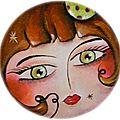 Mzelle Noisette,acrylique sur châssis rond (vendue!)