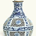 A chinese blue and white reticulated hookah base, qing dynasty, kangxi period