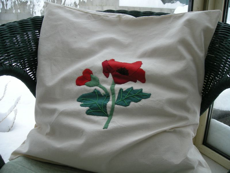 coussin coquelicot