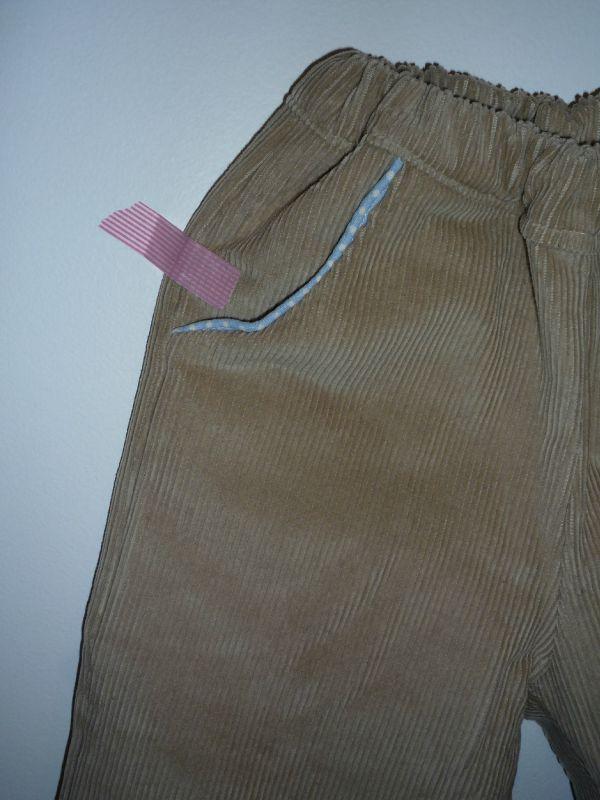 corsaire velours beige détail poche