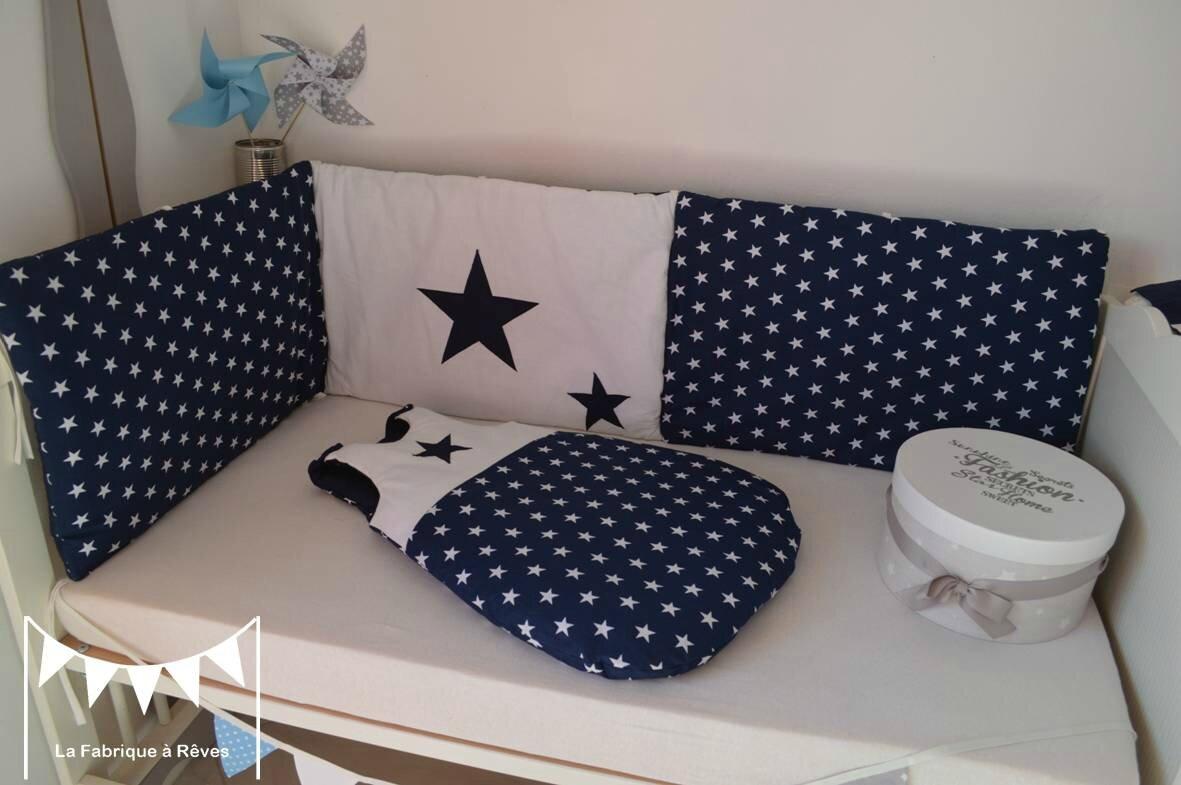 tour de lit bébé gris bleu gigoteuse 0 6 mois tour lit bébé bleu marine blanc étoiles   linge  tour de lit bébé gris bleu