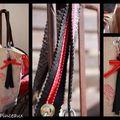 sac à main lin et motifs rouges
