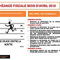 Échéance fiscale mois d'avril / drc april tax schedule