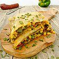 Quesadillas aux poivrons, maïs, chorizo et comté