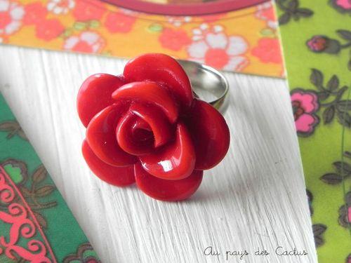 Bague rose rouge Au pays des Cactus