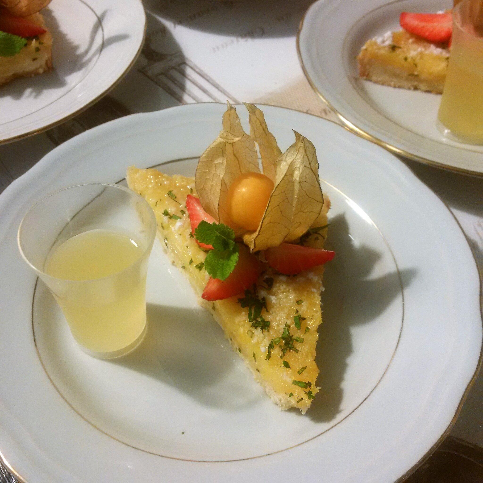 Sablé avec Crème Citron & Menthe, Shot de Limoncello