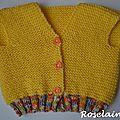 Roselaine gilet bébé jaune tricot 2