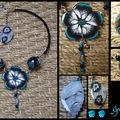 Collier fleur noir blanc et turquoise