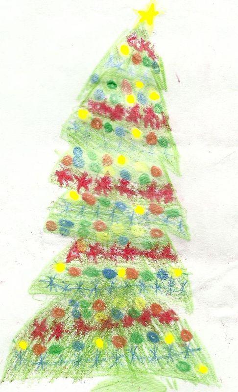 El pino de Navidad dibujado por Elías