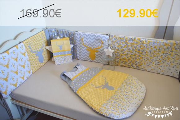 Tour de lit gigoteuse cerf jaune gris triangle géométrique promo