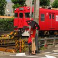 Red densha (Meitetsu 6600) & red girl