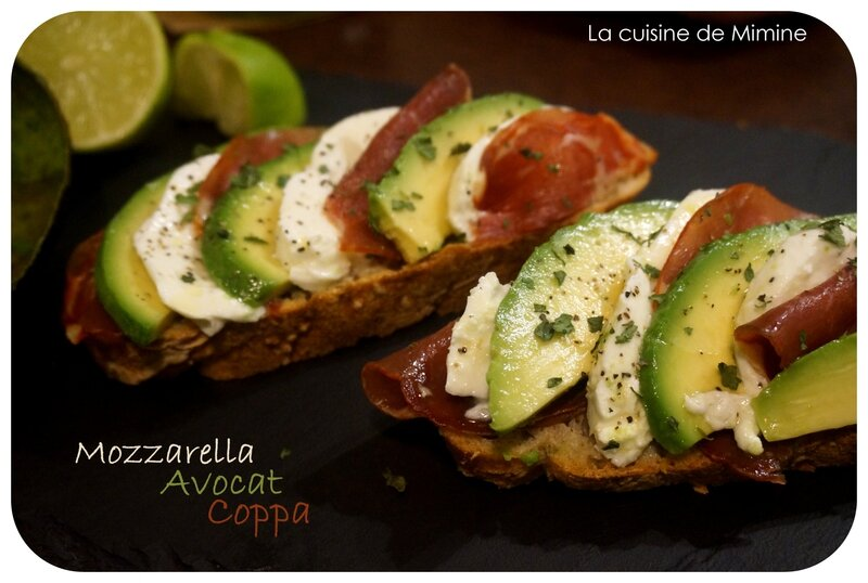 tartine gourmande avocat coppa mozzarella la cuisine de mimine. Black Bedroom Furniture Sets. Home Design Ideas