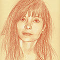 Marie Trintignan - portrait aux 3 crayons sur papier bis 24x30cm