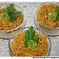 Verrines de cereales et saveur orientale