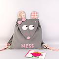 Sac à dos fille rentrée maternelle personnalisé prénom Ness sac à dos souris prénom