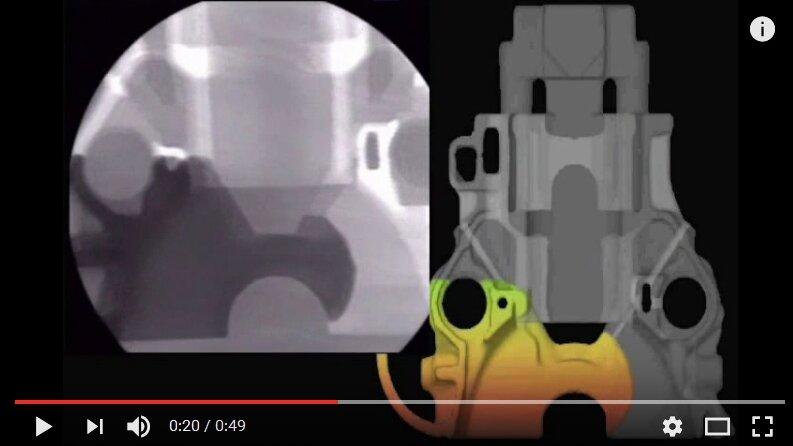 Simulation numérique Flow3D vs Radiographie du remplissage - Lost Foam
