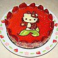 Gâteau Hello kitty bavarois Fraises
