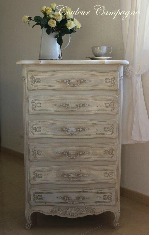 Chiffonnier patin lin vieilli couleur campagne - Meuble patine blanc ivoire ...