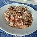 Sauté de porc et légumes à la sauce cacahuètes