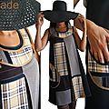 Robe trapèze chasuble Noire Patch de tissu Tartan écossais à carreaux/ Prince de Galles Camel Marron et Tissu masculin