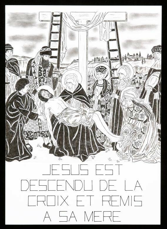 13- Jésus est descendu de la Croix et remis à Sa Mère