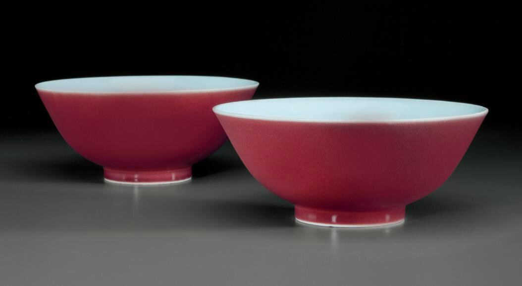 Two copper-red-glazed bowls, Qianlong six-character seal marks in underglaze blue and of the period (1736-1795)