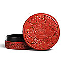 A carved cinnabar lacquer 'peony' box and cover, ming dynasty, early 15th century