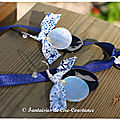 Collier croix en nare Jérusalem et BO duo nacres blanc marine